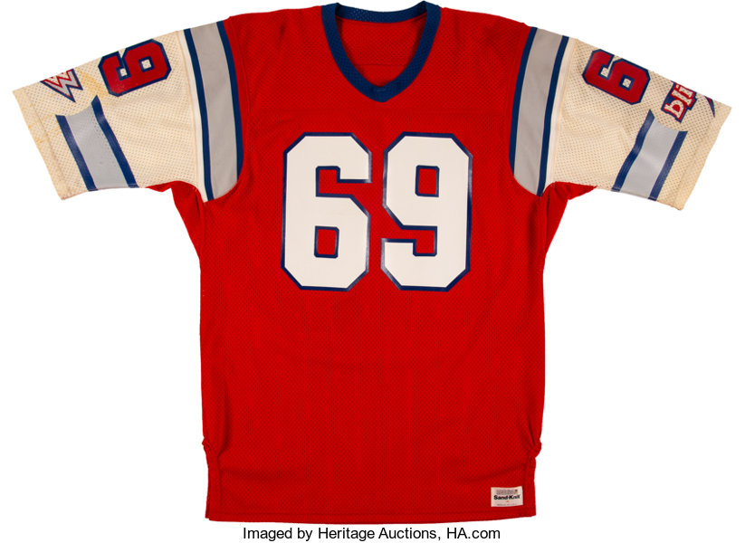 53770ebfae6 ... Football Collectibles:Uniforms, 1984 Revie Sorey Game Issued & Signed  Chicago Blitz USFLJersey ...