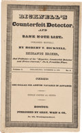 Books, Bicknell, Robert T. Bicknell's Counterfeit Detecter and BankNote List. Vol. I, No. 8 Boston: Lilly, Wait & Co., Nov.15...