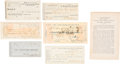 Books, [Bank Note Reporters and Counterfeit Detectors]. Original Receiptsand Advertising Materials for Various Bank Note Reporters a...