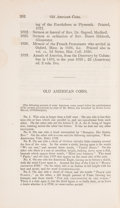 Books, Mease, James. Old American Coins. Collections of the Massachusetts Historical Society. ...