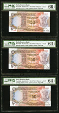 World Currency, Solid Serial Numbers 111111-999999 Plus 1000000 India Reserve Bankof India 50 Rupees ND (1978) Pick 84k Ten Examples. ... (Total: 10notes)