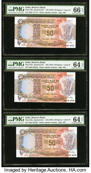 Solid Serial Numbers 111111-999999 Plus 1000000 India Reserve Bank