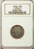 Proof Barber Quarters: , 1902 25C PR64 NGC. NGC Census: (58/84). PCGS Population: (78/64). PR64. Mintage 777. ...