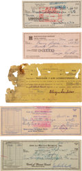 Autographs:Checks, 1953-69 Kid Chocolate, Sugar Ray Robinson, Jake LaMotta &Carmine Basilio Signed Checks Lot of 5.... (Total: 5 items)