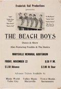 Music Memorabilia:Posters, Beach Boys Marysville Memorial Auditorium Concert Poster Dated TheDay President John F. Kennedy Died (Frederic Vail Productio...