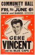 Music Memorabilia:Posters, Gene Vincent Community Hall Concert Poster (1958). ExtremelyRare....