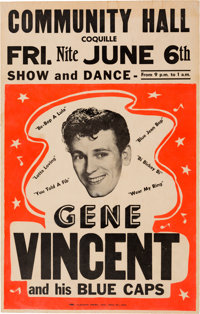 Gene Vincent Community Hall Concert Poster (1958). Extremely Rare