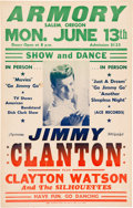 Movie/TV Memorabilia:Posters, Jimmy Clanton Armory Concert Poster (1960). Very Rare....
