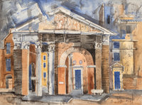 Bror Utter (American, 1913-1993) Roman Temple, 1955 Watercolor and ink on paper 11-1/2 x 15-1/2 i