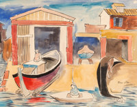 Bror Utter (American, 1913-1993) Untitled, 1958 Watercolor and ink on paper 21-1/2 x 27-1/2 inche