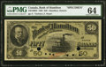 Canadian Currency, Hamilton, ON- Bank of Hamilton $50 1.6.1892 Ch. # 345-16-08s Specimen PMG Choice Uncirculated 64.. ...