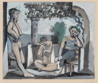 After Pablo Picasso Bacchanale, c. 1955 Aquatint in colors on BFK Rives paper 18-3/4 x 22 inches