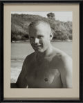 Explorers:Space Exploration, Astronaut Training: Neil Armstrong Shirtless Pose Photo from Air Force Tropical Survival School, in Frame with Photographic Pr...