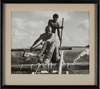 Astronaut Training: Neil Armstrong Rowing a Catamaran Photo from Air Force Tropical Survival School, in Frame, Dir