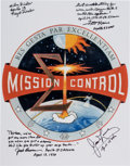Explorers:Space Exploration, Apollo 13: Large Mission Control Insignia Color Photo Signed and James Lovell, Fred Haise, Jack Lousma, and Milton Windler, wi...