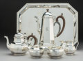 Silver Holloware, American:Tea Sets, A Five-Piece English Silver Tea and Coffee Service with RelatedTray for Tiffany & Co., London, circa 1982. Marks to service...(Total: 6 Items)