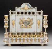 A Yossi Swed Partial Gilt Silver Menorah, 1991-1992 Marks: (S over D cipher), (D butterfly S), (1991-1992 in Hebre