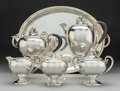 Silver Holloware, American:Tea Sets, A Five-Piece M. Fred Hirsch Silver Tea & Coffee Service withAssociated Carl F. Christiansen Silver-Plated Tray, Jersey City...(Total: 6 Items)