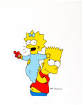 The Simpsons Bart and Maggie Presentation Cel (Fox, c. 1990s) Comic Art