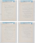 Explorers:Space Exploration, University of Cincinnati: Neil Armstrong's Handwritten Lecture Notes (Eight Pages) and Hand-drawn Diagrams (Nine Pages) on the...