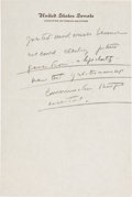 Autographs:U.S. Presidents, John F. Kennedy Handwritten Notes as Senator on Foreign Policy and the Cold War....