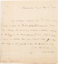 Autographs:Non-American, Lord Charles Cornwallis Autograph Letter Signed ...