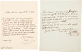Autographs:Inventors, Two Georges Cuvier Autograph Letters Signed ... (Total: 2 Items)