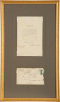 Autographs:U.S. Presidents, Rutherford B. Hayes Thank You Note Signed...