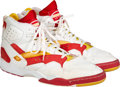 Basketball Collectibles:Others, 1993-94 Hakeem Olajuwon Game Worn & Signed Sneakers & 1994 Finals Game Worn Kneepads (Photo Matched) - MVP & Championship Seas...