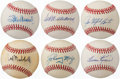 Autographs:Baseballs, Hall of Fame Single Signed Baseball Lot of 6 with Ted Williams....