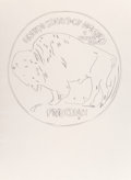 Works on Paper, Andy Warhol (1928-1987). Buffalo Nickel. Pencil on paper. 40 x 30-1/2 inches (101.6 x 77.5 cm). Stamped with the Estate ...