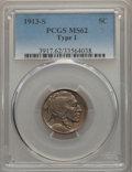 Buffalo Nickels, 1913-S 5C Type One MS62 PCGS. PCGS Population: (165/2111). NGCCensus: (213/1047). CDN: $100 Whsle. Bid for problem-free NG...