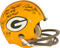 Football Collectibles:Helmets, 1960's Green Bay Packers Greats Multi-Signed Full Sized Throwback Helmet....