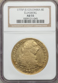 Colombia, Charles III gold 8 Escudos 1775 P-JS AU55 NGC,...