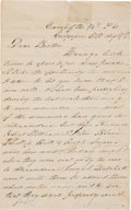 Autographs:Military Figures, Union Soldier's Letter by Daniel Davis of the 46th Pennsylvaniawith Battle of Cedar Mountain Content....