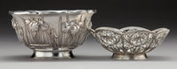 A Japanese Silver Bowl and an Indian Silver Bowl with Filigree Rim Marks: (various) 3-1/4 x 6 inches (8.3 x 15