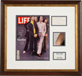 Music Memorabilia:Autographs and Signed Items, Beatles Signed Life Magazine Display....