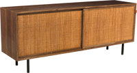 Florence Knoll (American, born 1917) Credenza, 1940s, Knoll Walnut, cane, leather, steel 29-3/8 x