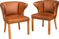 Furniture , Attributed to Frits Henningsen (Danish, 1889-1965). Pair of Armchairs, circa 1940. Leather, brass, oak. 30-1/2 x 25-1/4 ... (Total: 2 Items)