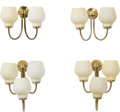 Decorative Arts, Continental:Lamps & Lighting, Attributed to Vilhelm Lauritzen (Danish, 1894-1984). Four WallSconces, 1950s. Brass, glass . 13 x 11-3/4 x 10-1/2 inche...(Total: 4 Items)