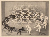 M. C. Escher (1898-1972) Encounter, 1944 Lithograph on Holland paper 13-1/2 x 18-3/8 inches (34.3
