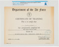 Explorers:Space Exploration, Astronaut Training: U.S. Air Force Basic Tropic Survival Course Certificate of Training, Directly From The Armstrong Family Co...