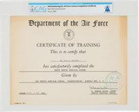 Astronaut Training: U.S. Air Force Basic Tropic Survival Course Certificate of Training, Directly From The Armstrong Fam...