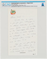 Neil Armstrong: Letter From Lamar Hunt Requesting An Autograph on a Schematic of Apollo Astronauts, Circa 1976 Directly...
