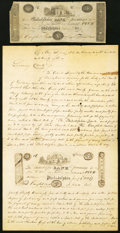 Miscellaneous:Other, Financial Americana - 1828 Legal Document on Counterfeiting of a Philadelphia Bank $5 Note Plus the Original Counterfeit Examp... (Total: 2 items)