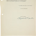 Autographs:Authors, Raymond Chandler Contract Signed for Playback with Four Others Signed by His Estate....