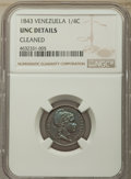 Colombia, Republic 1/4 Centavo 1843 UNC Details (Cleaned) NGC,
