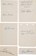 Baseball Collectibles:Others, 1940's Baseball Hall of Famers Signed Cut Signatures Lot of 6....