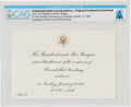 Explorers:Space Exploration, President Ronald Reagan: Dinner Invitation for Neil and Janet Armstrong, January 19, 1982, Directly From The Armstrong Fam...