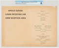 Explorers:Space Exploration, Apollo 11 Quarantine: Lunar Receiving Lab Crew Menu from Stouffer Foods for Day One, Directly From The Armstrong Family Co...